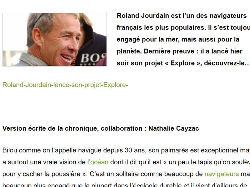 Roland Jourdain «Explore» notre planète
