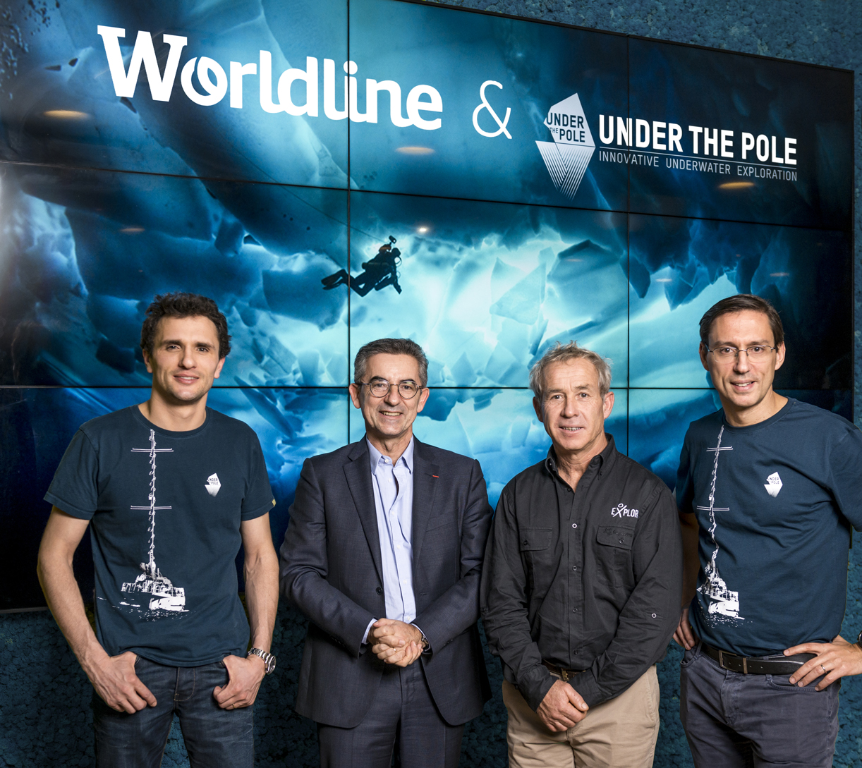 Photo de Ghislain Bardout (Under The Pole), Gilles Grapinet (Worldline), Roland Jourdain (Explore), Sébastien Mandront (Worldline)
