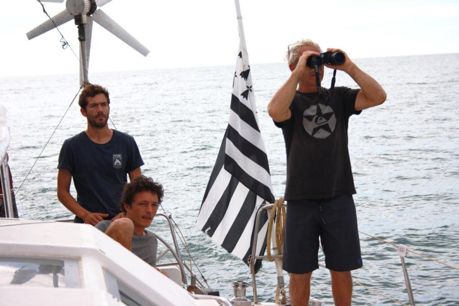 Roland Jourdain sur le Nomade des Mers