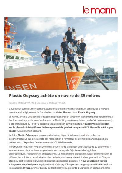 Plastic Odyssey achète un navire de 39 mètres