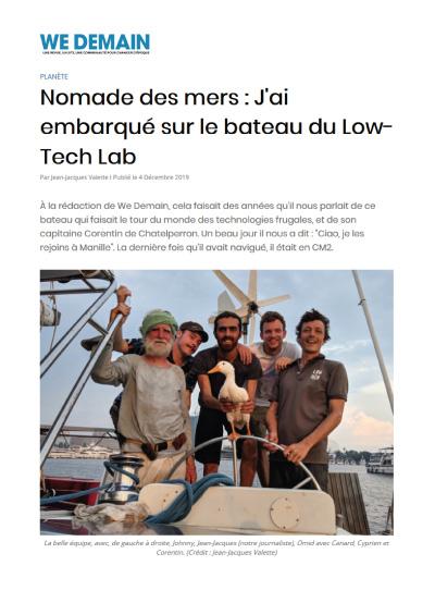 Nomade des mers : J'ai embarqué sur le bateau du Low-Tech Lab
